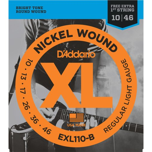 Encordoamento de Guitarra D'Addario 010 Nickel Wound Regular Light EXL110-B - 1 Corda Mi Extra