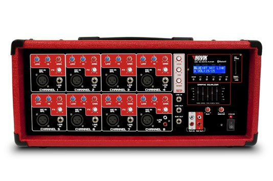 Cabeçote Amplificado Novik Neo NVK 8500BT Vermelho EQ Gráfico de 5 Bandas