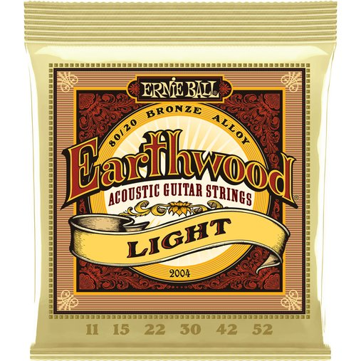 Encordoamento de Violão Aço Ernie Ball 011 Earthwood 80/20 Bronze Light