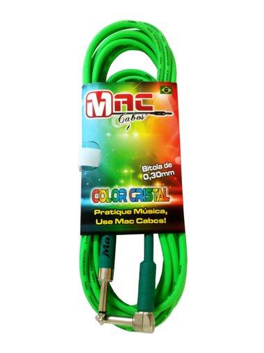 Cabo Para Intrumentos Mac Cristal Colors 5 Metros Verde Com Plug Em 90º graus