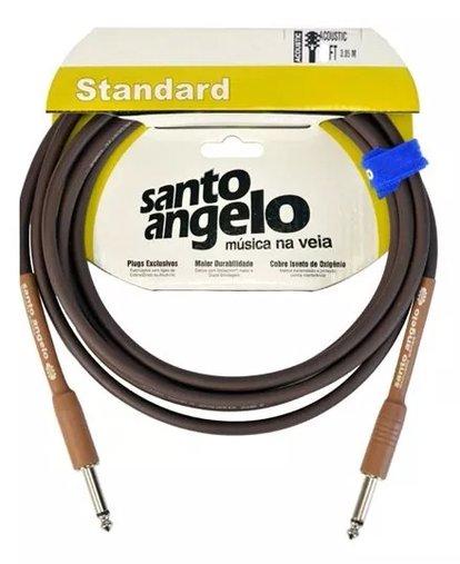 Cabo Para Instrumentos Santo Ângelo Standard Acoustic Marrom 3,05m 10FT Plug 180° RETO