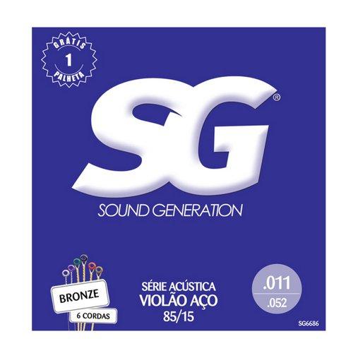 Encordoamento de Violão Aço SG 011Bronze Série Acústica 85/15 - Brinde 1 Palheta