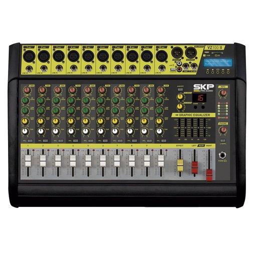 Mesa de Som Amplificada SKP Pro Audio VZ100 II 500W, 10 Canais, MP3, USB e Bt