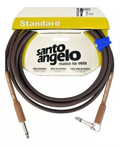 Cabo Para Instrumentos Santo Ângelo Standard Acoustic Marrom 3,05m 10FT Plug 90° L