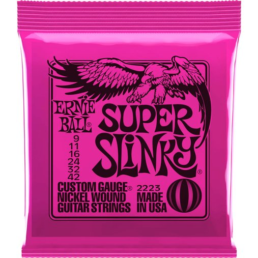 Encordoamento de Guitarra Ernie Ball 009 Super Slinky 2223