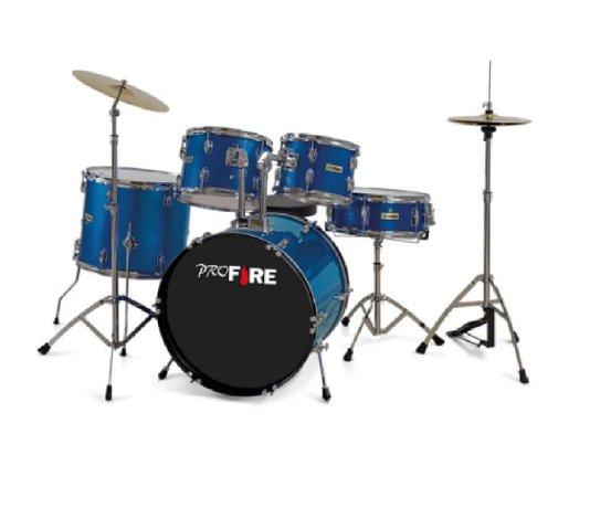 Bateria Acústica Pro Fire B22 10/12/16/22/cx14 Azul