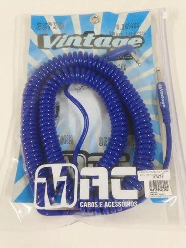 Cabo Guitarra Mac Espiral 30 Ft 9,15 M Azul