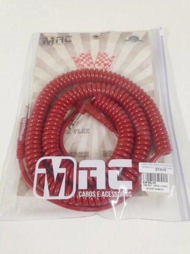 Cabo Guitarra Mac Espiral 30 Ft 9,15 M Vermelho