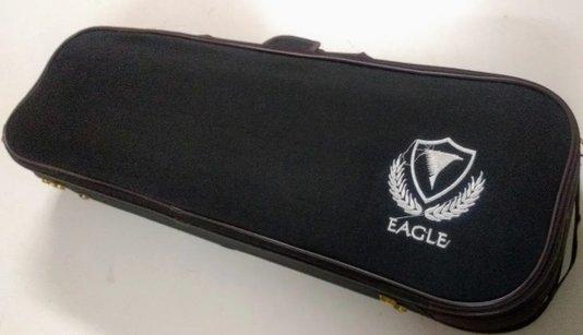 Case Violino Eagle Retangular Estofado Luxo Preto Higrometro