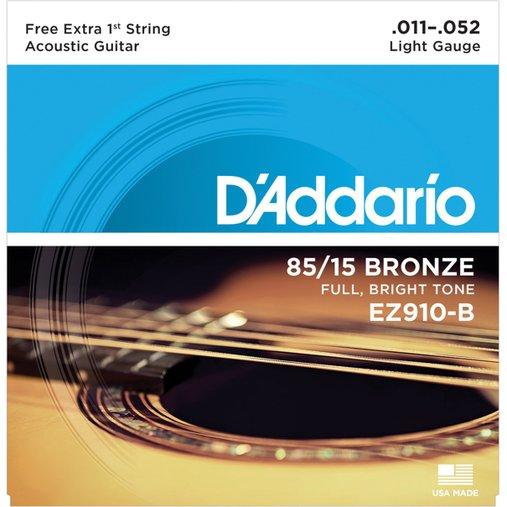 Encordoamento de Violão Aço D'Addario 011 EZ910-B Light Gauge 85/15 - 1 Corda Mi Extra
