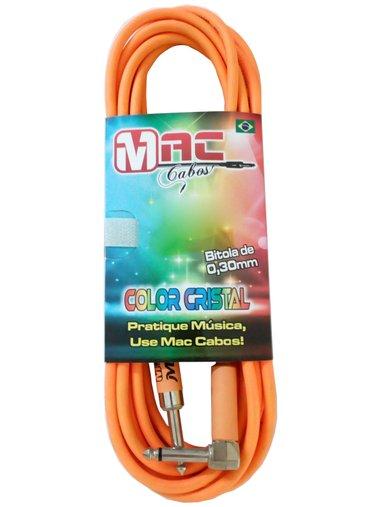 Cabo Para Intrumentos Mac Cristal Colors 7 Metros Laranja Com Plug Em 90º graus