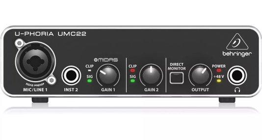 Interface De Áudio Behringer Umc22 Uphoria Usb