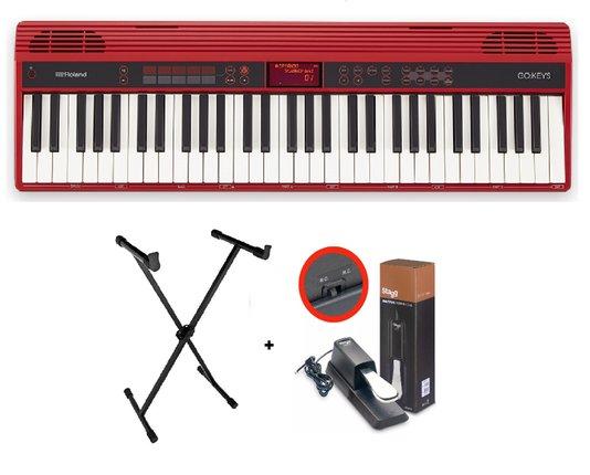Kit Teclado Roland Go Keys 61k Loop C/ Estante em X e Pedal Sustain
