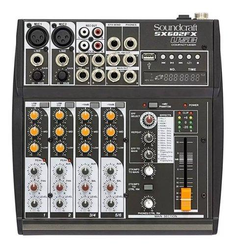 Mesa De Som Soundcraft Sx602 Fx Analógica 6 Canais Usb