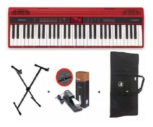 Teclado Roland Go Keys 61k C/ Capa + Estante + Pedal Sustain
